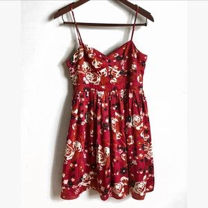 Fossil Dresses - Fossil | Red Floral Fit & Flare Dress | M